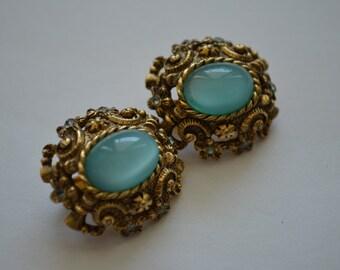 Vintage Robin's Egg Blue Sarah Coventry Czarina Clip Earrings