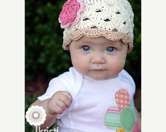 Crochet Toddler Hat, Eggshell Hat for Girls, Crochet Hat, Toddler Hat, 1T to 2T