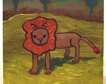 Lion in his disappearing habitat. Not so fierce lion original painting
