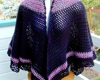 Cape Black Silver And Pink - Handmade Crochet - Wardrobe Accessory