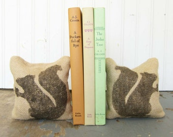 Squirrel - Burlap - Petit Feed Sack Pillow Pair - Unique paper weight, bookends, pin cushion, etc - Woodland Decor