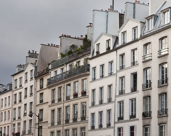 SALE Storm Front - Paris Photography, Architecture, Apartments, Windows, Dramatic Blue Grey Silver Sky, Neutral French Home Decor