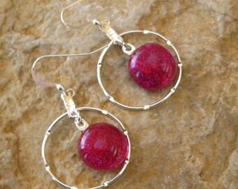 Hot Pink Sparkle Dichoric Glass Hoop Earrings, Fused Glass Earrings, Glass Earrings, Hoop Earrings - Hot Pink Earrings
