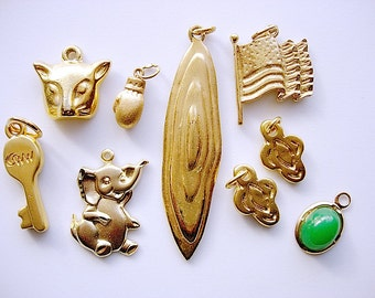 Pretty Lot of Various Gold Tone Metal Pendants-Charms Jewelry Components