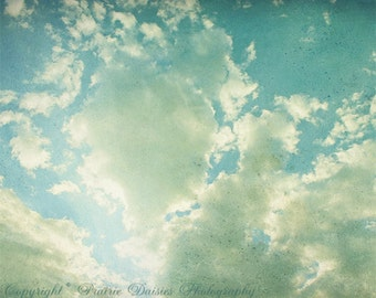 """Clouds photo, 8x10, 11x14, 16x20, Sky, Blue, Textured, Dreamy, Aqua, White, Shabby chic, Nature photography, """"Clouds"""""""