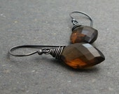 Whiskey Quartz Earrings Oxidized Sterling Silver Earrings Geometric Jewelry