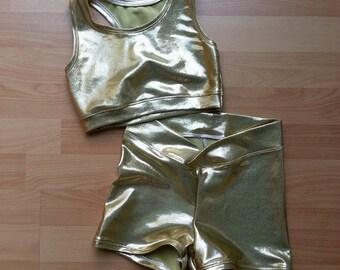 Solid Gold Crop Shorts Set Leotard Dance,Gymnastics,Circus,Sport 9