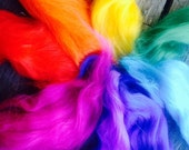 felting kit...bright rainbow coloured wool fleece..with detailed instructions