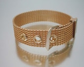1960's Mesh Buckle Bracelet Gold Tone Vintage Unused