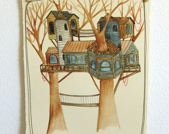 Tree House, Tree House Art, Watercolor Painting, Painting, Original Painting, Original Watercolor Painting, House Painting, Wall Art