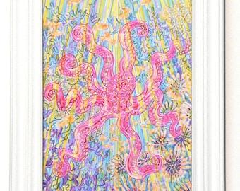 Greeting Card, Octopus, Equanimity, Ocean, Sea, Creature, Light, Spiritual, Yoga, Balance, EcoFriendly, Art, Nature, Mystical, Hippie, Beach