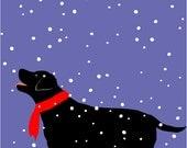 Original Illustration 8 x 10 inch print Black Lab in Snow