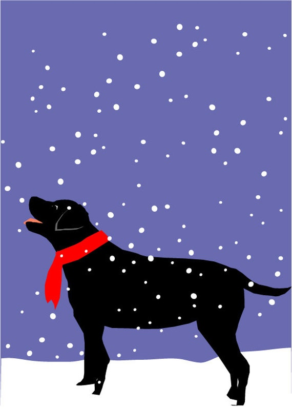 Original Illustration 8 X 10 Inch Print Black Lab In Snow
