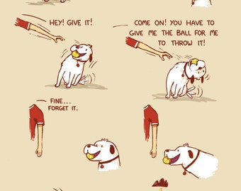 Playing Ball With the Dog Greeting Card
