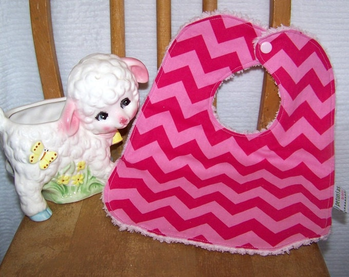 SALE Chenille Bib hot pink chevron snap absorbent gift baby toddler by PETUNIAS