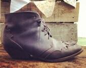 VINTAGE Dark Chestnut Leather Booties 8/8.5