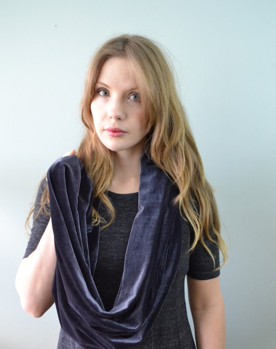 Velvet Infinity Scarf available in crushed Silver Velvet, Midnight Purple and Cinnamon
