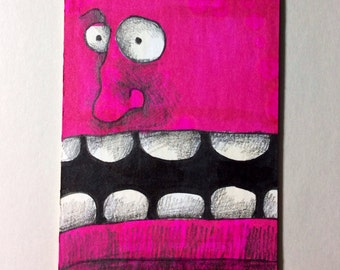 Pink Monster Original ACEO Drawing by Aaron Butcher