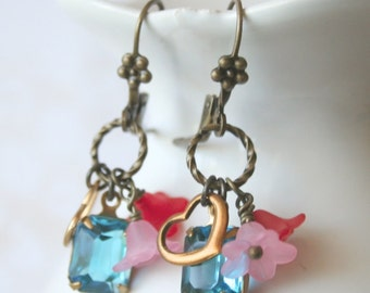 Cecily Aqua Blue Dangle Crystal Floral Earrings Vintage Inspired