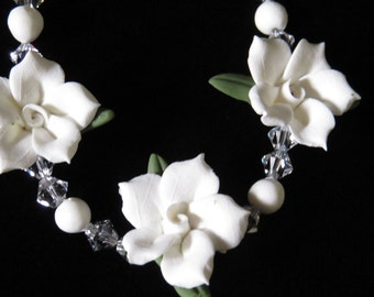 White Cold Porcelain Floral Necklace and Earring Set