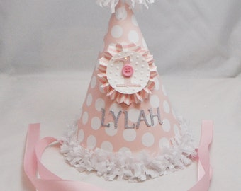 Cute As a Button 1st Birthday Party Hat Girl- Personalized