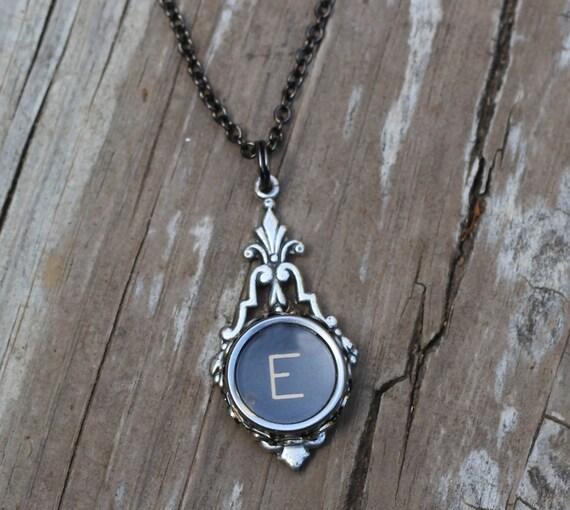 letter e typewriter key necklace by keysandmemories on etsy