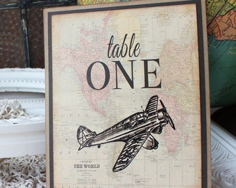 Vintage Airplane Wedding Reception Table Numbers Destination Weddings