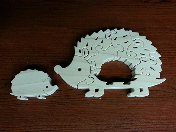 Hedgehog and Baby Hoglet - Childrens Wood Puzzle Game - New Toy - Hand-Made - Child-Safe