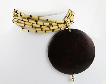 Large Bamboo and Wood Statement Bracelet, Christian Jewelry - The King's Cross Collection