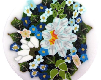 "Polymer clay cane milefiore. 1"" wide. Detailed bouquet of flowers -  going back"