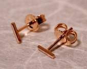 5mm x 1mm 18k Rose Gold Studs Teeny Tiny Bar Stud Earrings Solid 18k Gold Studs by SARANTOS