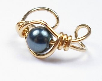 Ear Cuff 14k Gold Filled Swarovski Crystal Tahitian Pearl Custom bead choice cartilage earring non pierced