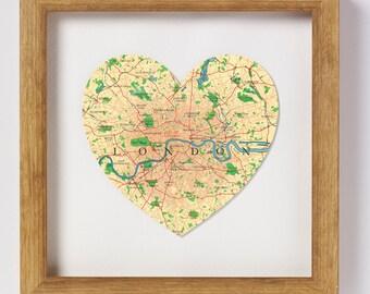 London Map Heart Print - framed