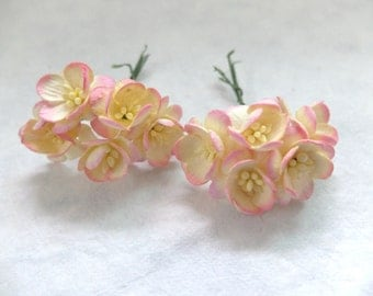 """10 1"""" yellow pink paper cherry blossom - paper flowers"""