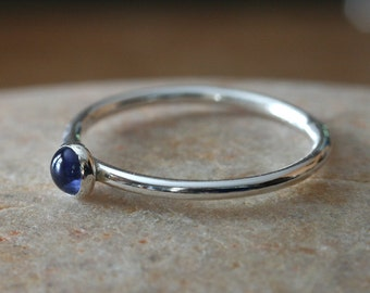 Iolite Stacking Ring in Sterling Silver, Gemstone Ring, Size 2 to 15, Stacker Solitarie Ring, Stackable Minimalist Womens Ring, Gift for Her