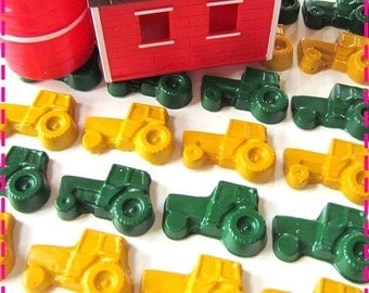 Kids' GREEN and YELLOW TRACTOR Crayons, Crayon Birthday Favors, Kids' Party Pack of (20) Toys, Recycled, Also Avail. in Asst Colors