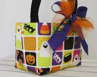 Halloween Trick or Treat Candy Basket Bucket - Multi Color Fun Squares Ghosts Silly Spiders Candy Corn