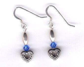 Blue Sapphire Swarovski Heart Earrings