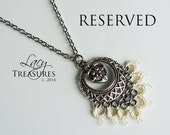 RESERVED . Heart necklace . Lace . Dangle Heart Charm . Any color . FREE shipping