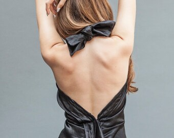 Backless Little Black Dress, Party Dress, Backless Silk Dress, LBD, Evening Wear, Sexy Dress, Open Back Dress, Low Back Dress
