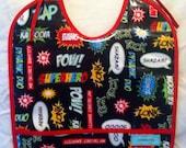Superhero laminated pocket baby bib