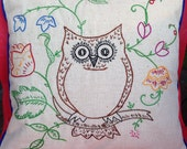 Owl throw pillow - embroidered