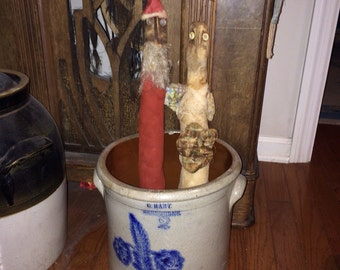 Primitive Christmas Crock Santa or Angel