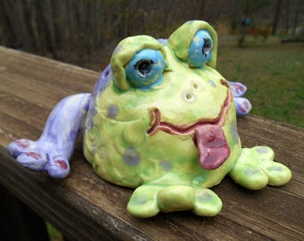 Hand sculpted Ceramic Lime Green and Purple Garden Frog
