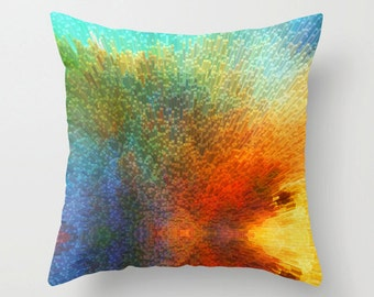 Throw Pillow Abstract Art Design Primary Colors Home Sofa Bed Colorful Couch Decor Artsy Decorating Blue Colorful Bedroom Bedding