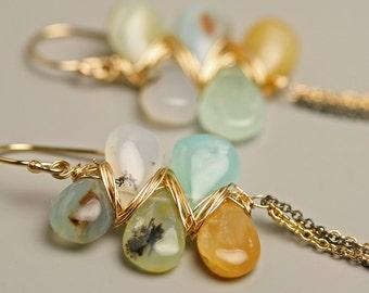 Peruvian Opal Earrings with Long Wispy Chains