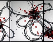 3 piece multi panel canvas art liquid painting abstract white silver black red floral flowers minimal
