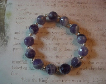 Cape Amethyst and sterling stretch bracelet