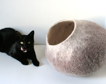 Cat Nap Cocoon / Cave / Bed / House / Vessel / Furniture - Hand Felted Wool - Crisp Contemporary Design - READY TO SHIP Beige Cat Bubble
