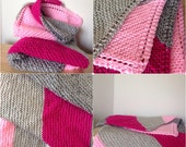 Modern Pink and Grey/Gray Knit Baby Girl Blanket Afghan with Diagonal Stripes